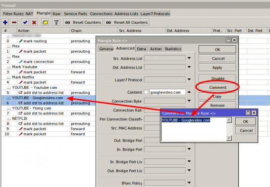 Mikrotik mangle rule - comments in list