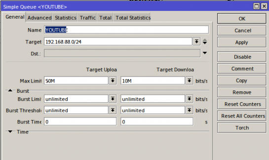 Youtube simple queue rule for traffic shaping